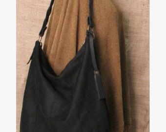 Handmade black suede hobo bag