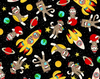 Space Sock Monkeys Cotton Fabric