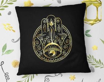 Fatima Hand / Khamsa / Hamsa on Hand-sewn Organic Cotton Throw Pillow Cover / Cushion Cover, 16x16inch (40x40cm)
