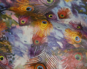 Leather 3 or 4 or 5 or 6 sq ft Colorful PEACOCK FEATHERS Print Soft Grain NOT hair on Cowhide 2.5oz / 1mm PeggySueAlso™ E6760-01