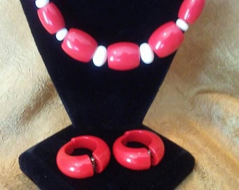 Red Lucite Necklace and earrings.
