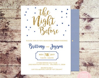 The Night Before Invitation, Triangle Invitation, Rehearsal Dinner Invitation, Fun Rehearsal, Wedding Rehearsal Dinner- Lovely Little Party