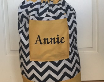 Monogrammed Laundry Duffel Bag, Yellow/Gold, Navy and White Chevron, Laundry Bag, Hanging Laundry Duffel Bag for College, Laundry Hamper