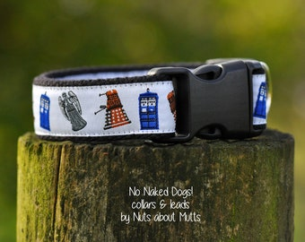 Dr Who Tardis Weeping Angels Tardis Dalek collar for small to medium sized dogs