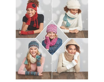 Simplicity Pattern 8273 Misses Knit Cold Weather Accessories and Hats. Pattern is new and uncut.
