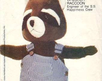 1980s Butterick 4779 261 Wrecker RACCOON Pattern Overalls Engineer of the S S Happiness Crew Vintage Stuffed Animal Sewing Pattern UNCUT