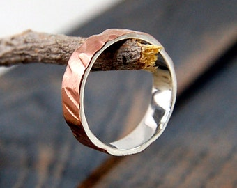 mens wedding band copper, Womans rustic wedding band ring, unique silver copper rustic engagement band, unique engagement band ring