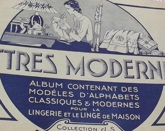 Vintage Français livre broderie croix point de Broderie Blanc motif alphabet lettres monogrammes