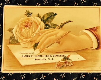 Victorian Trade Card 1800s, Hand Writing Note, Pink Rose, James T Vanderveer, Jeweler, Wonderful Antique Paper Collectible