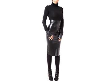 Leather Skirt, BDSM Clothing, Fetish Clothing, Burlesque Skirt, High Waisted Skirt, Plus Size Skirt, Black Skirt, Midi Skirt, Women Skirt