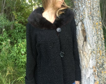 vintage swing jacket with fur collar -50s/60s