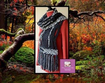 Boho Scarf, Gift For Her, Bohemian Scarf, Freeform Crochet, Crochet Neck Warmer, Chunky Scarf, Fall Knit Wrap, Festival Scarf, Handmade Wrap