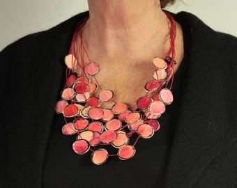 Portable painting Necklace pink red, multilayer necklace pink red. Statement, Boho.