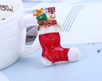 Christmas Gift Vintage Red Socks Brooch Pin / Christmas Stocking Pin / Christmas Stocking Brooch / Christmas Stocking Stuffer