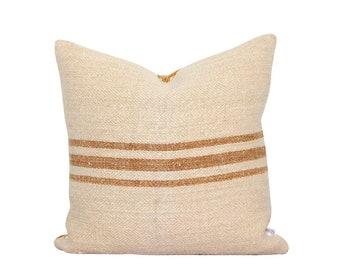 Authentic Grain Sack Pillow - Farmhouse - Cottage - Rustic - Caramel Stripes - Antique Grain Sack - Industrial Chic