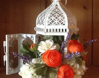 Orange Runnuculas & Satin Cream Roses in Metal Lantern