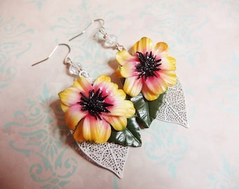 Gerbera Flower Earrings / Gerbera daisy / plant / spring / flower jewelry