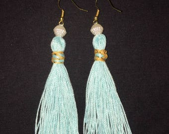 Mint and Gold Tassel Earrings
