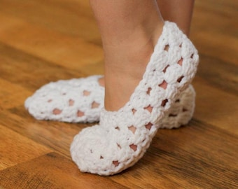 Instant Download - Crochet Pattern - My Pretty Slippers (Child size 1 to Woman size 12)