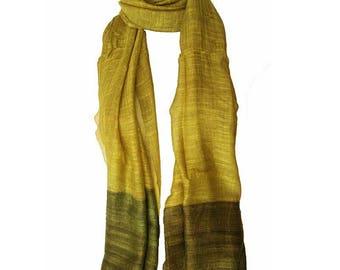 Organic Green fine silk scarf