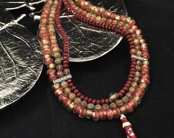 Triple strand choker necklace, choker necklace, hand beaded choker necklace, choker necklace, multi strand necklace, triple strand necklace