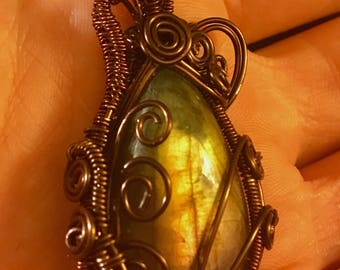 Steampunk wire-wrapped labradorite pendant