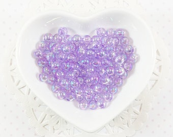 6mm Pastel Purple Iridescent Round Beads - 100pcs