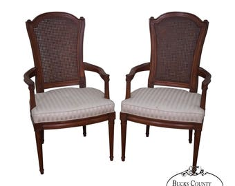 Charmant Henredon Vintage Pair Of Walnut French Louis XVI Style Cane Back Arm Chairs