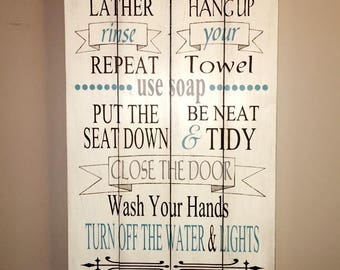Bathroom rules sign