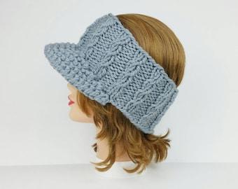 Cable Knit Sun Visor Headband, Women's Sun Visor, Headband With Brim, Headwrap Visor, Grey Headband Visor, Headband With Visor, Knit Visor