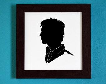 The Vampire Diaries - Damon Salvatore - Silhouette Portrait Print