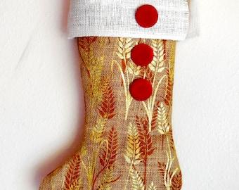 Christmas Stocking...Christmas Decoration...Printed Burlap Stocking...Red Velvet..Shabby Chic Christmas Stocking...Unique Christmas Stocking