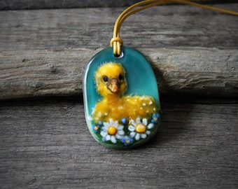 Cute Baby duck in the flowers - Fused glass pendant