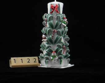 Hand Carved Candle, White and Green Christmas Tree Carve with Bows, Snowmen and Candy Canes, 7 Inch, OOAK, 1122