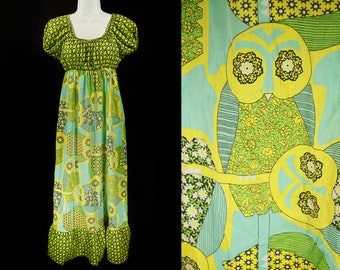 Vintage 70's CAROL BRENT Owl Pattern Country Maxi Dress S