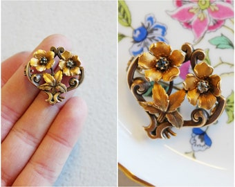 Victorian Rolled Gold Floral Brooch / Titre Fixe / Signed / Flower Bouquet Pin / Antique Jewellery / Jewelry