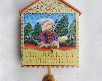 Tortoise & Hare Journey Pendulum Wall clock hand painted with art print