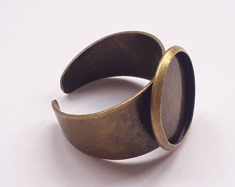1pc Ring Base - Antique Bronze - Ring Blanks - Adjustable Ring Mount - Fits 13mm Cabochon Setting - Ring Making - B24365