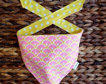 "Pink Grapefruit"" reversible tie around bandana"