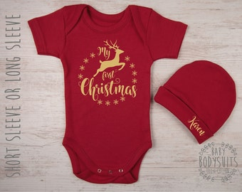 Baby Christmas Outfit, MY FIRST CHRISTMAS Baby Bodysuit & Personalized Hat Red Set, Baby Girl Christmas Outfit, Baby Boy Christmas Clothing