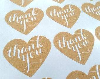 Thank You Stickers, Large Heart Stickers, Thank You Label: Set of 15