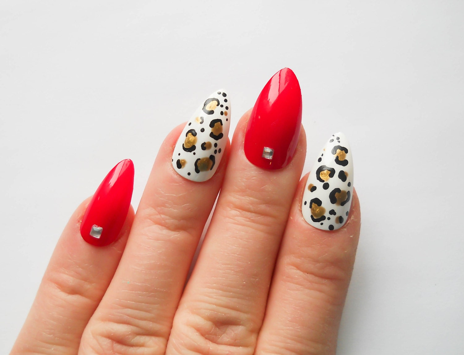 Red w/ Leopard Print Nails / Fake Nails / Stiletto Nails / Press on ...
