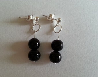 Sterling Silver Studs and Black Onyx Earrings