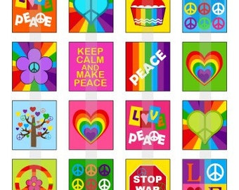 Peace and Love - one 4x6 inch digital sheet of scrabble size (0.75 x 0.83 inches) images for scrabble tiles
