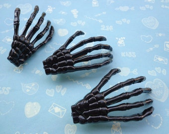 SALE--50  black skeleton hand hair clips