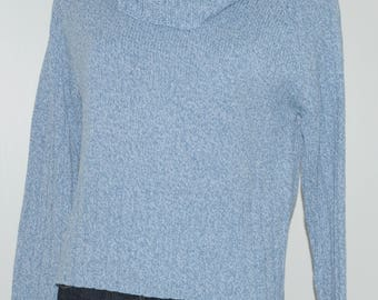 Vintage blue heathered sweater with ring collar Size 38 FR