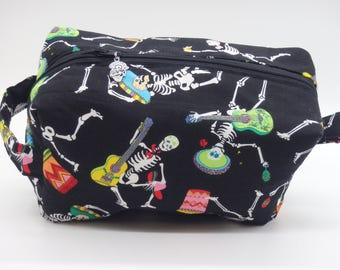 Dancing Skeletons Pouch, Folkloric Musical Bag, Day of the Dead Zip Pouch, Ditty Bag, Toiletry Kit, Cosmetics Case, Makeup Bag, Travel Case