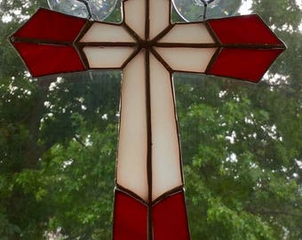 Stained Glass Cross Suncatcher By Sparkle Stained Glass