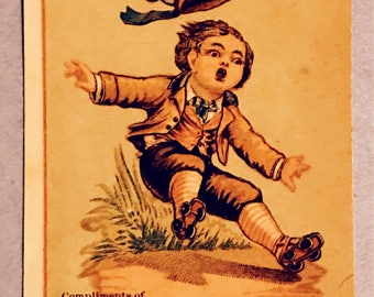 Victorian Trade Card 1800s, Surprised Little Victorian Boy Falling Wearing Roller Skates, Eaton Allen, A Wonderful Antique Collectible