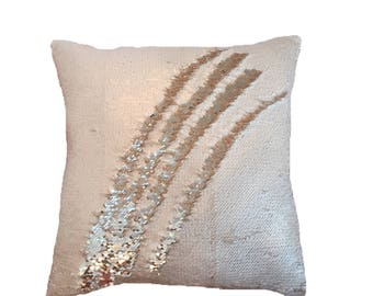 Ivory/Lt Gold Reversible Sequin Pillow Cover